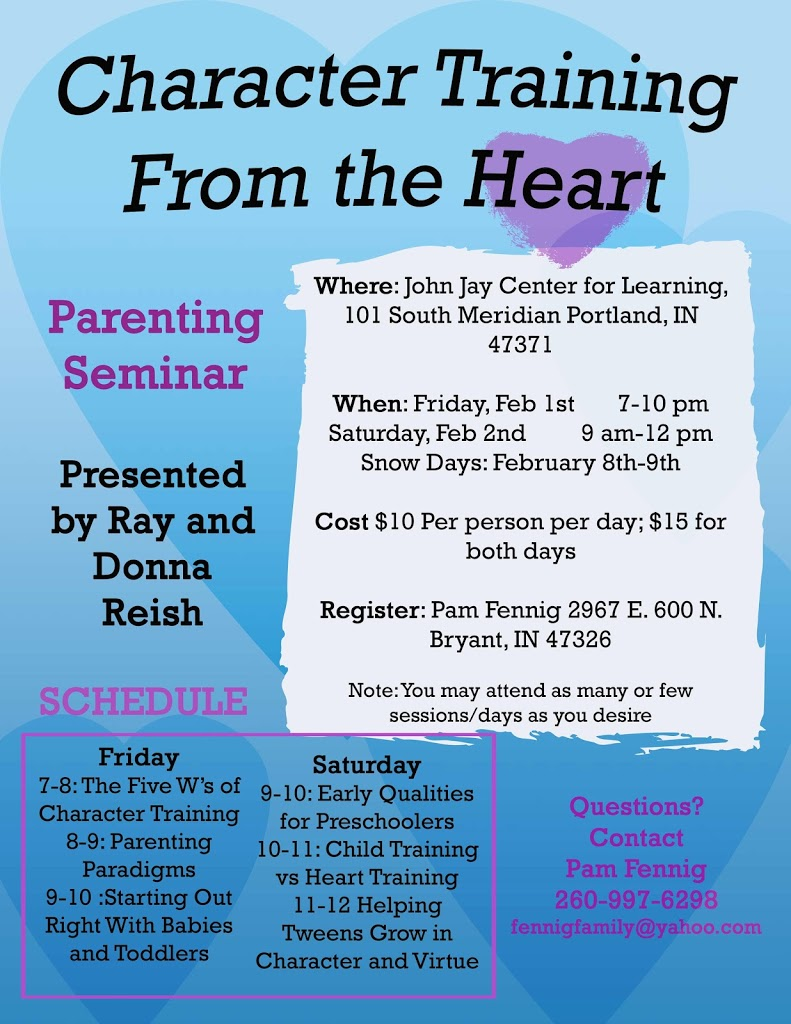 Parenting Seminar in Portland, Indiana Feb 1st and 2nd