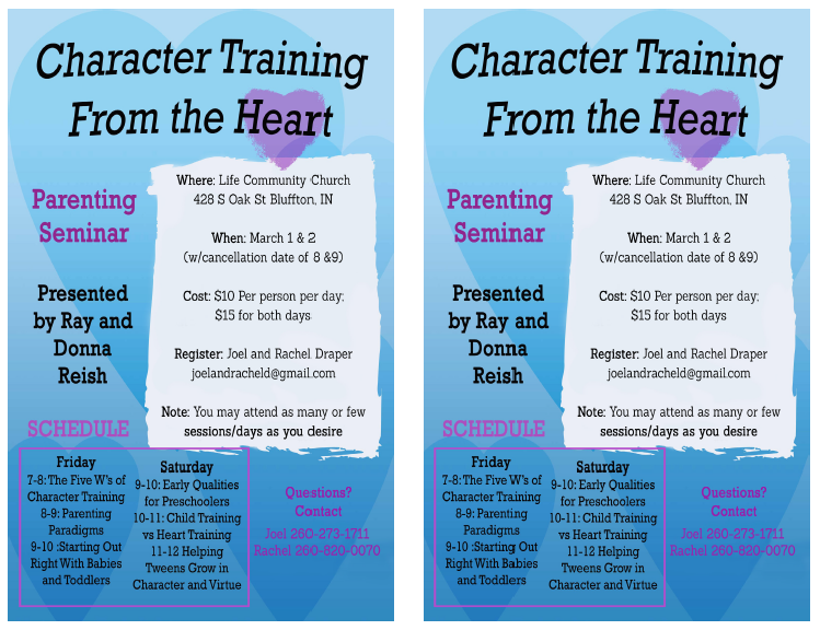 Character Training Seminar in Bluffton, IN
