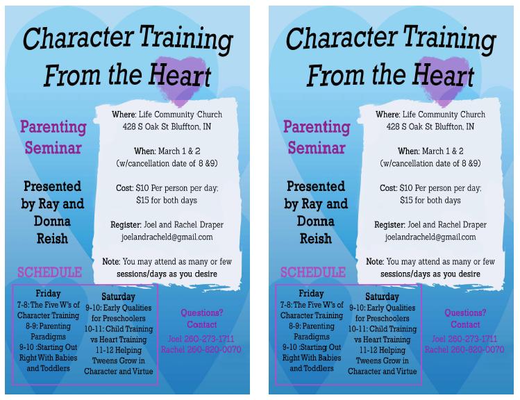 Character Training Seminar in Bluffton, IN