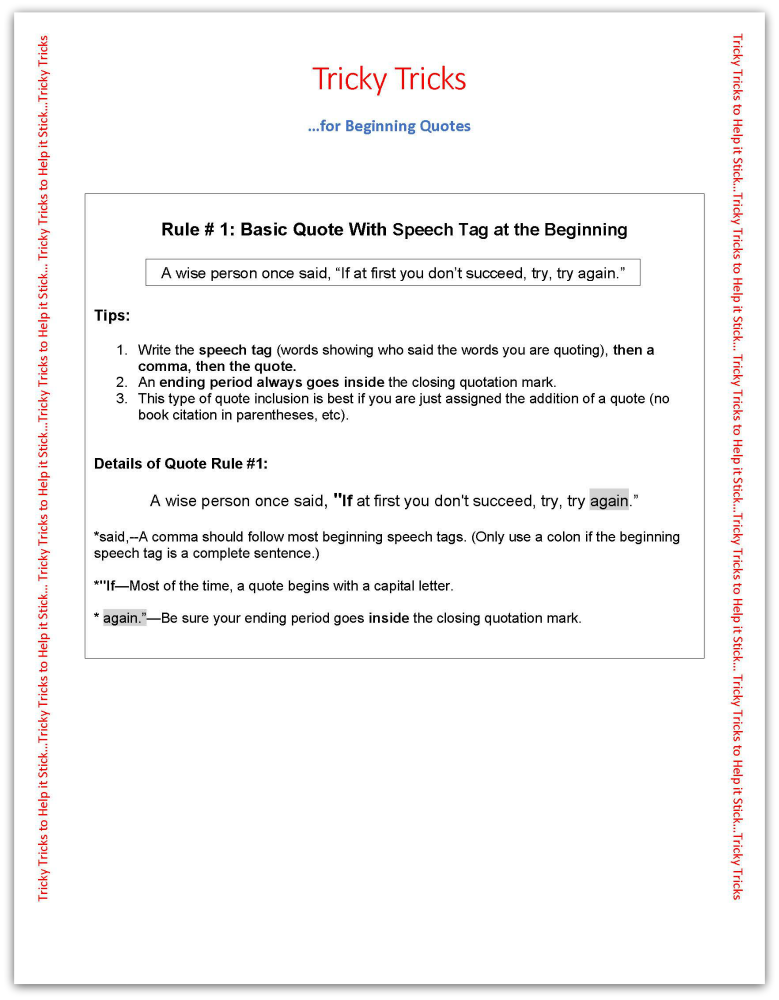 quotation sheet