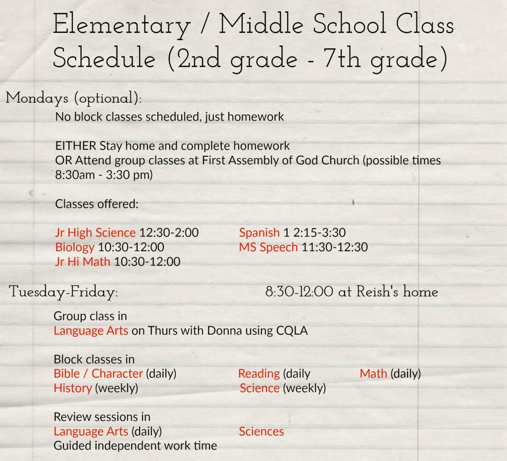 Elementary and Middle School Class Schedule